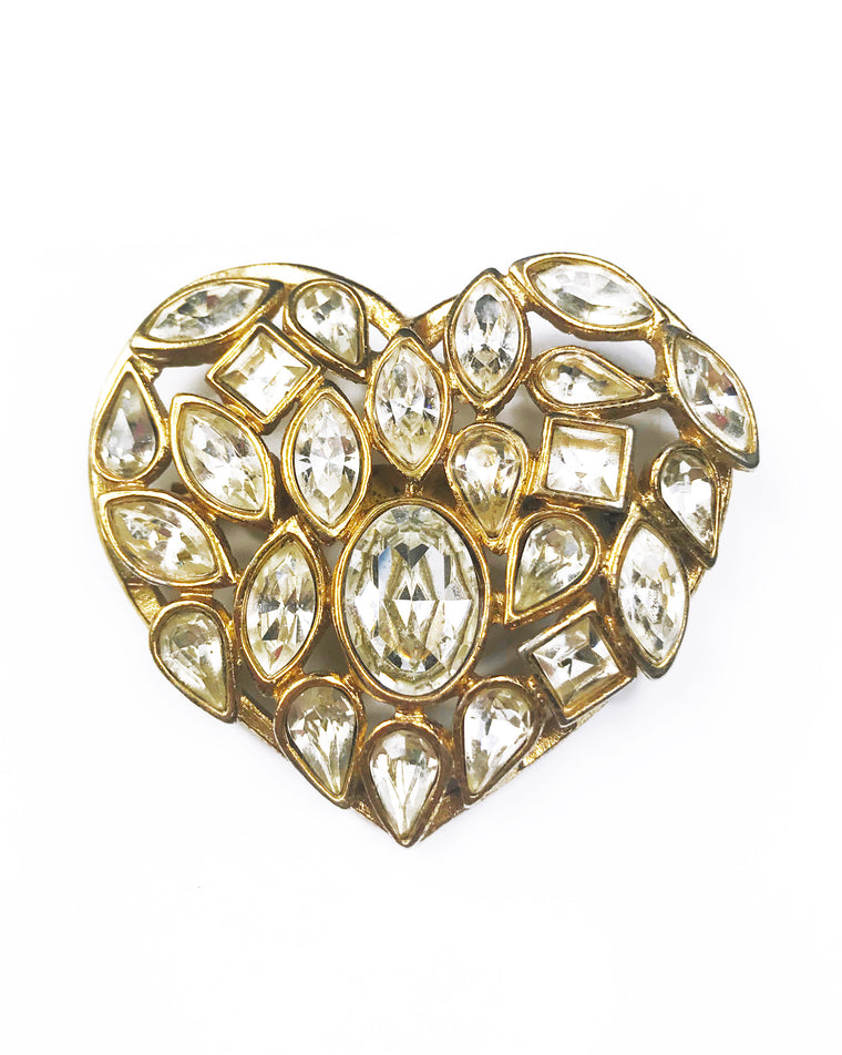 Yves Saint Laurent 1980s Crystal Heart Brooch