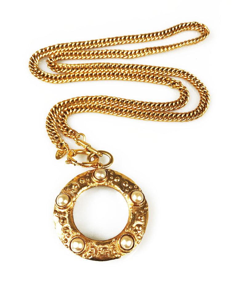 Chanel 1980s Gold Loupe Eyeglass Pendant Necklace