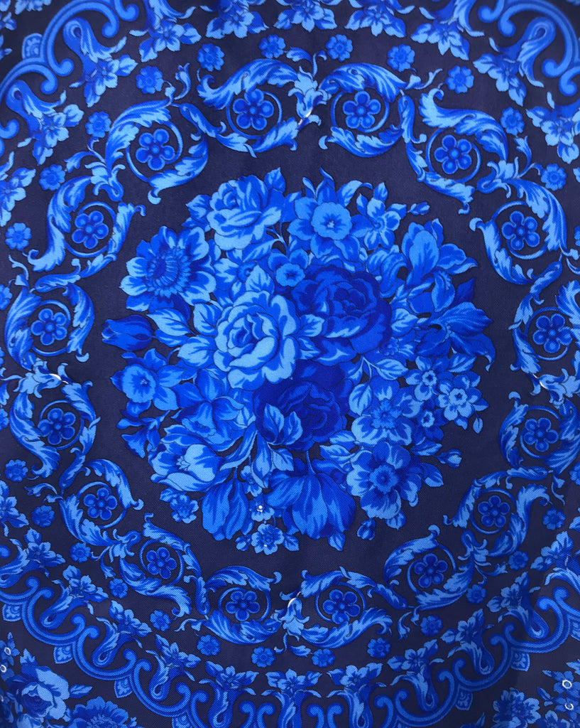 Fruit Vintage Gianni Versace Blue Baroque Print Silk Shirt Blouse