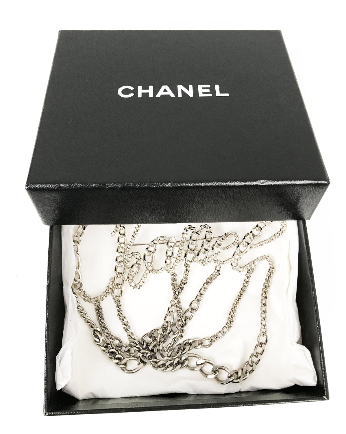 FRUIT Vintage Chanel Chain text logo brooch 2006 Karl Lagerfeld