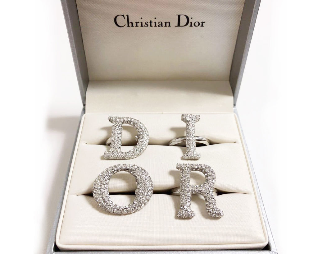 Fruit Vintage large Christian Dior diamonte crystal silver logo ring set as worn by Carrie Bradshaw on Sex and The City and Lady Gaga. Each letter is designed to be worn on a separate finger in the style of knuckle dusters.