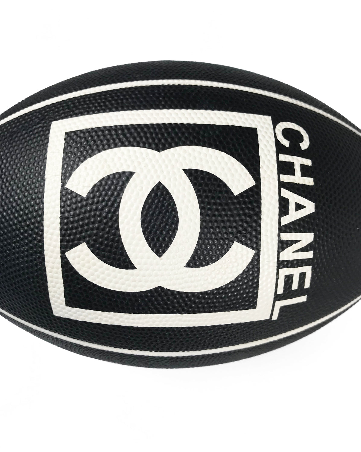 Fruit Vintage rare Chanel 2007 football. This Chanel sport logo foot ball by Karl Lagerfeld is an important Chanel collectors accessory. It features a large Chanel logo and text in black and white