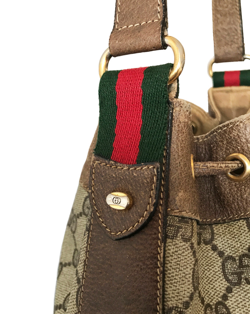 FRUIT Vintage Gucci 1970s Bucket Bag Logo Monogram