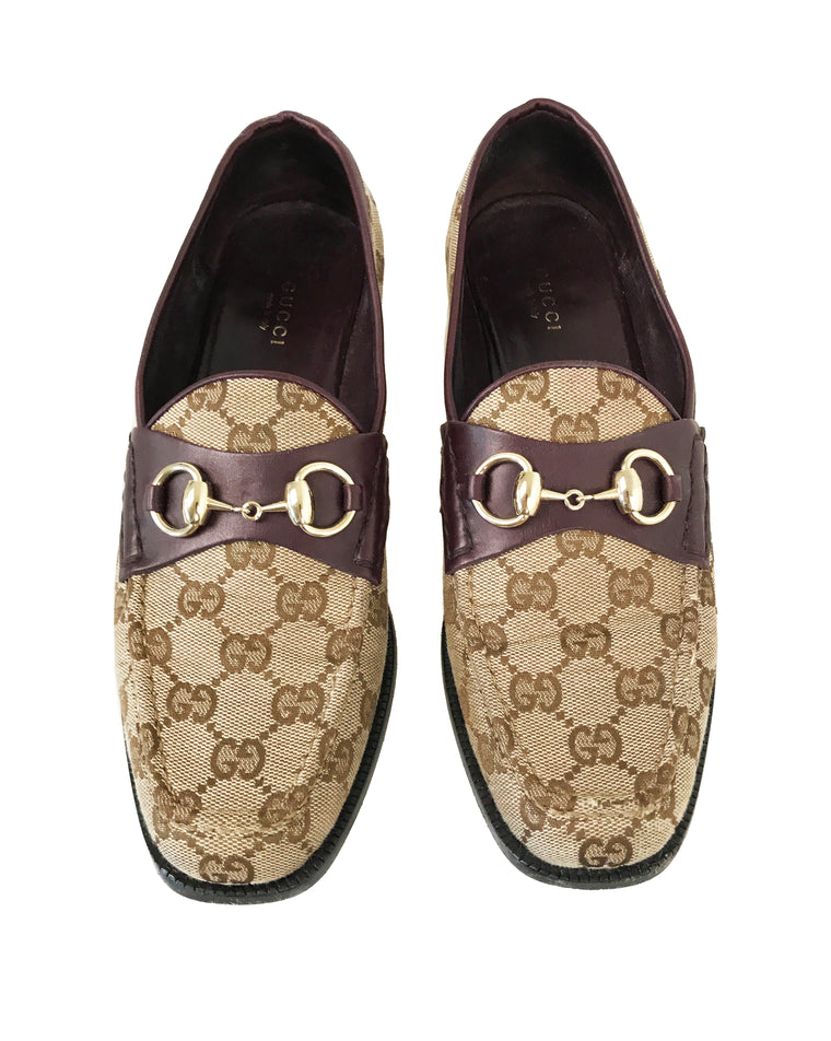Gucci 1990s Logo Print Loafers