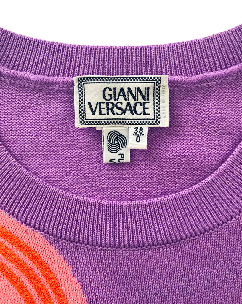 Gianni Versace Rare Travel Sticker Embellished Knit Jumper