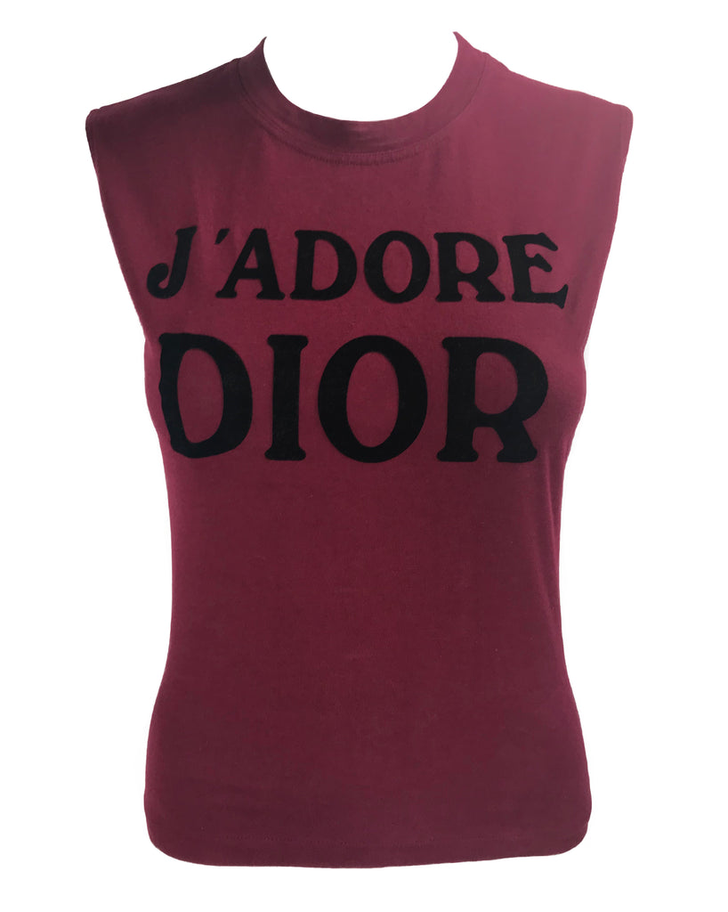 Fruit Vintage Christian Dior Red Black J'adore Dior Logo Tank Top by John Galliano