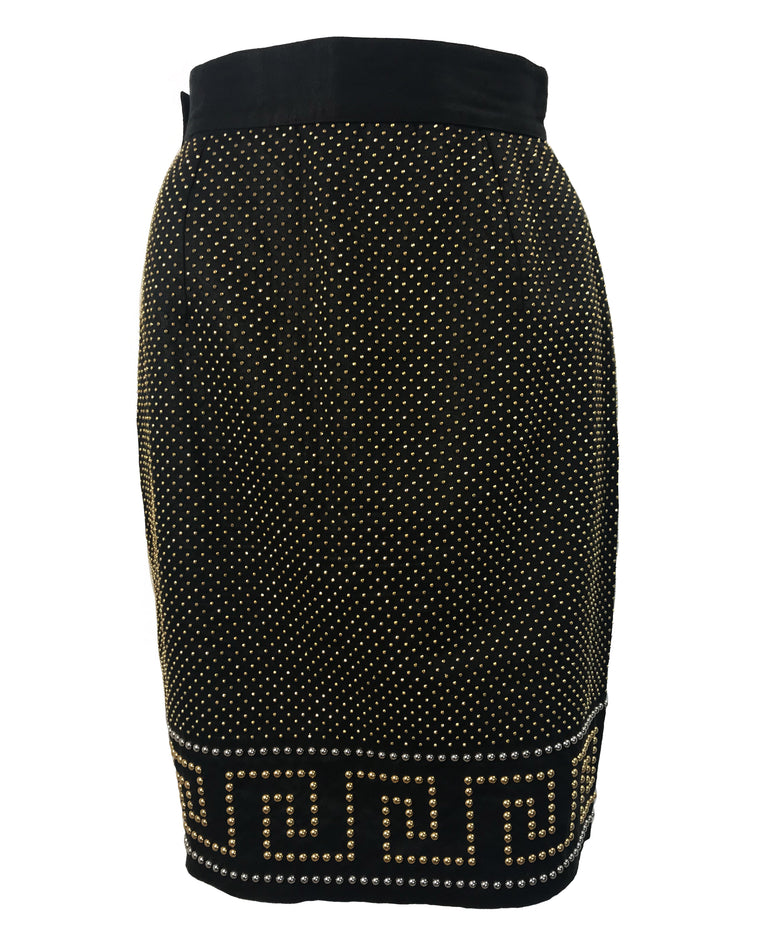 Versace Black Key Stud Skirt