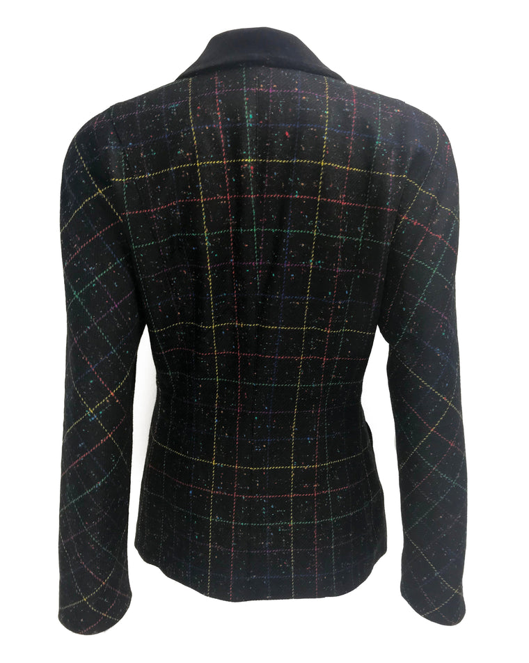 FRUIT Vintage Escada 1980s traditional style wool tweed blazer with standout rainbow checks. Features two front pockets and a classic velvet contrast collar.