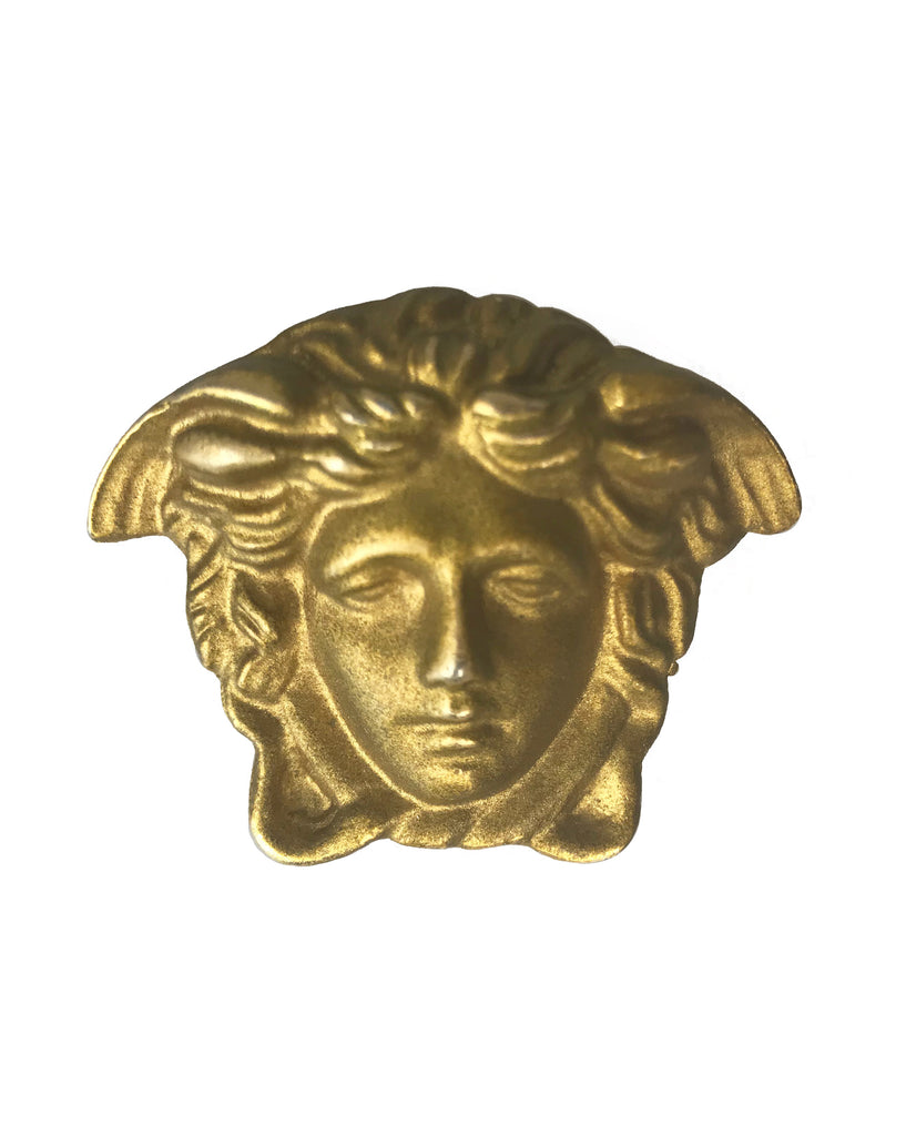 Fruit Vintage rare Gianni Versace 1980s Medusa head brooch. Marked 'Gianni Versace Profumi' it dates back to the early 80's.