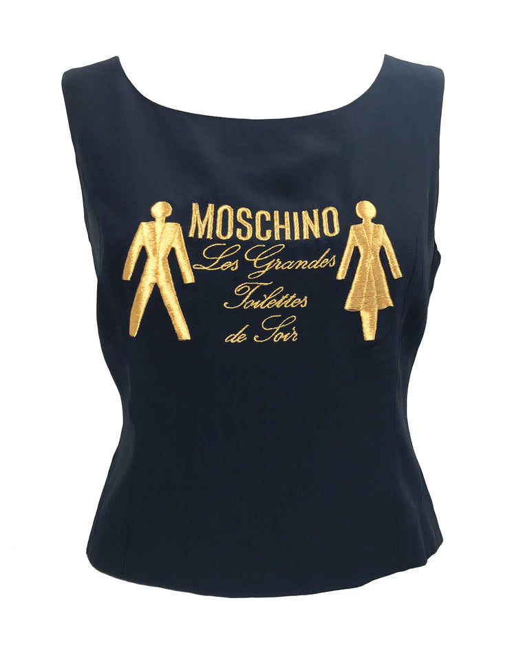 Moschino Navy Embroidered 1990s Top