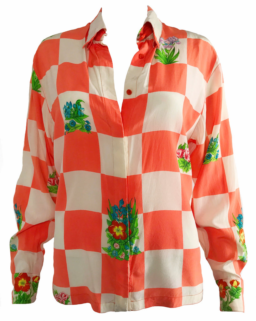 1987 SHOP Vintage Versace by Gianni Versace Neon Checker Board silk Shirt 1980s