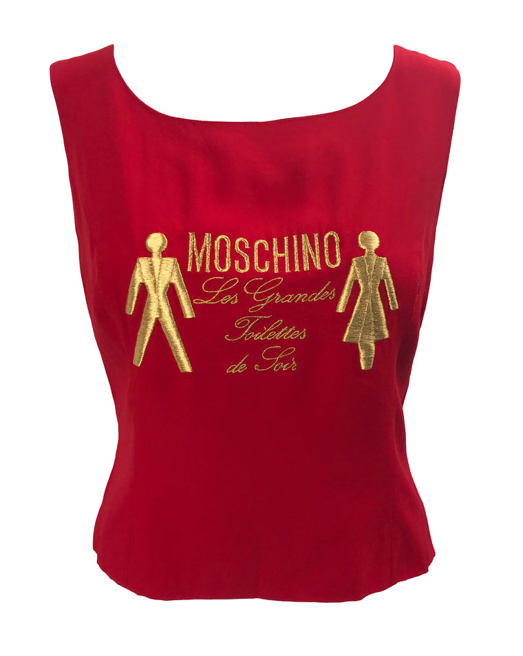 Moschino Red Embroidered 1990s Top