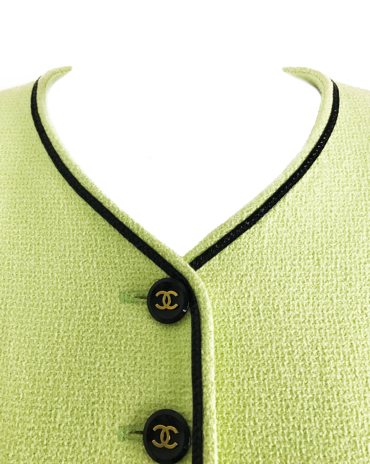 FRUIT Vintage Chanel iconic 1995 Green Boucle Cropped Jacket Karl Lagerfeld