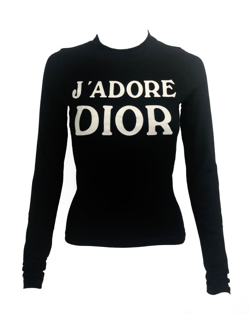 Fruit Vintage Christian Dior Black and White J'adore Dior long sleeve top by John Galliano. Features a classic crew cut and flocked logo print detailing in white front and back, as seen on Sex and the City and Khloe Kardashian.