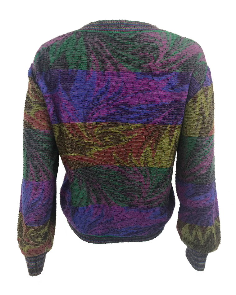 FRUIT Vintage Missoni 1980s knit sweater. Features a custom Missoni colourful print knit and banded cuff and hem.
