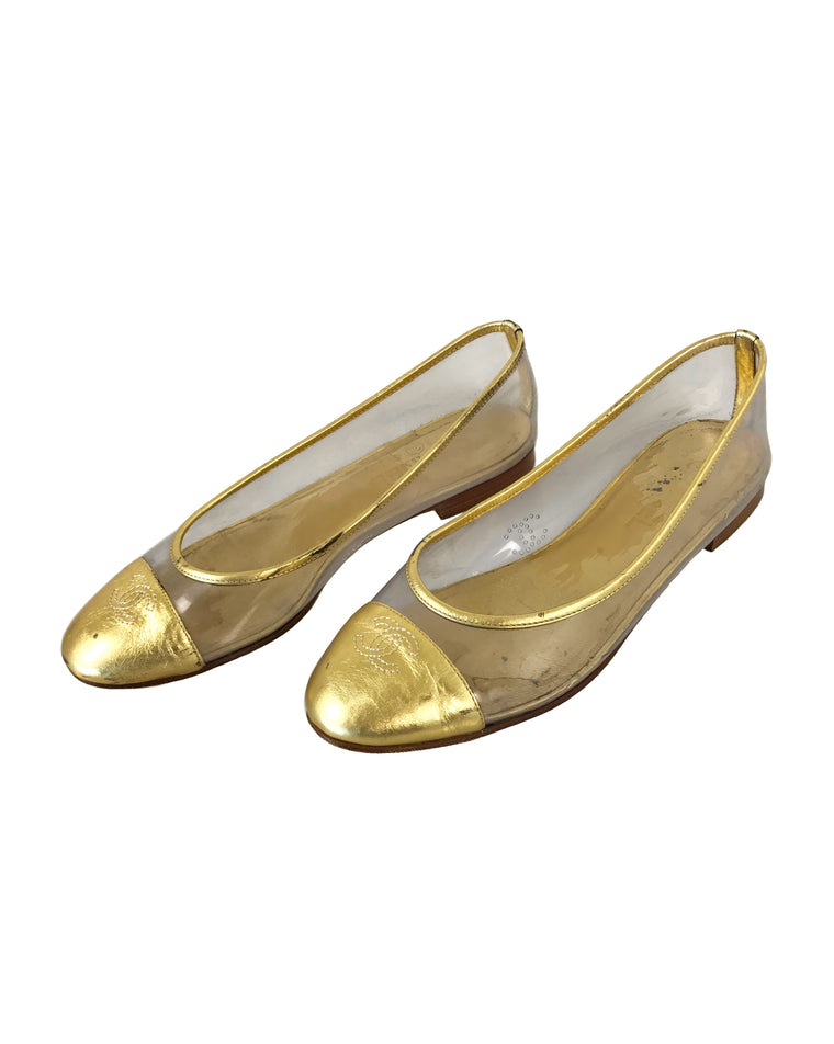FRUIT Vintage Chanel Gold logo Perspex vinyl ballet flats shoes