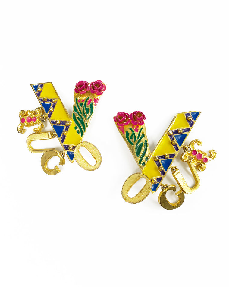 Gianni Versace 1991 Vogue Earrings