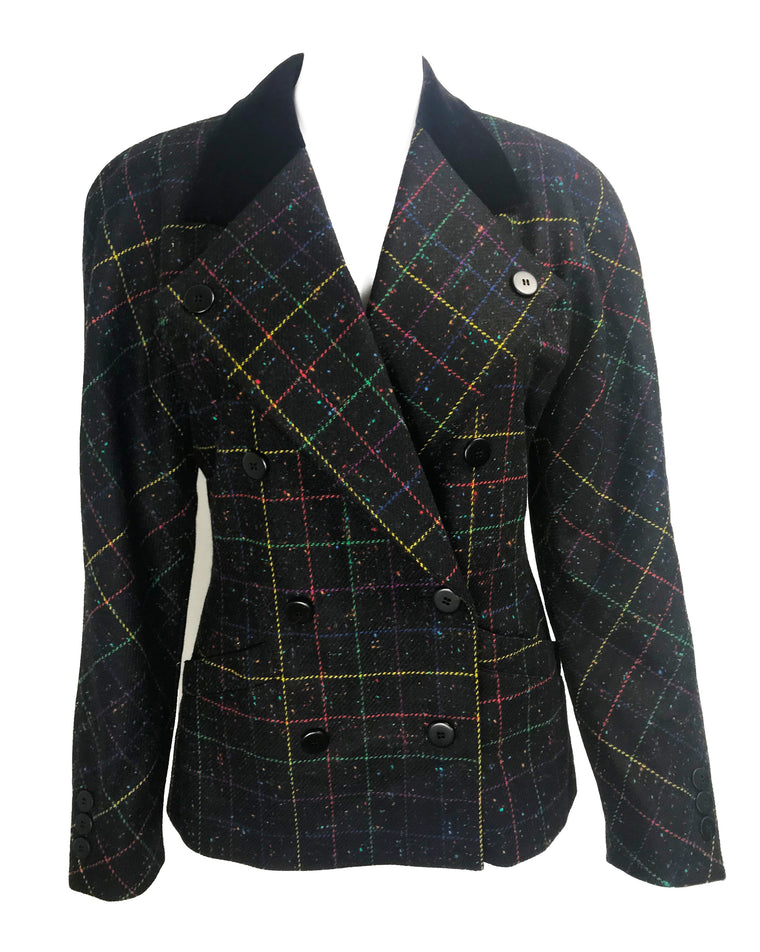 Escada 1980s Rainbow Tweed Blazer
