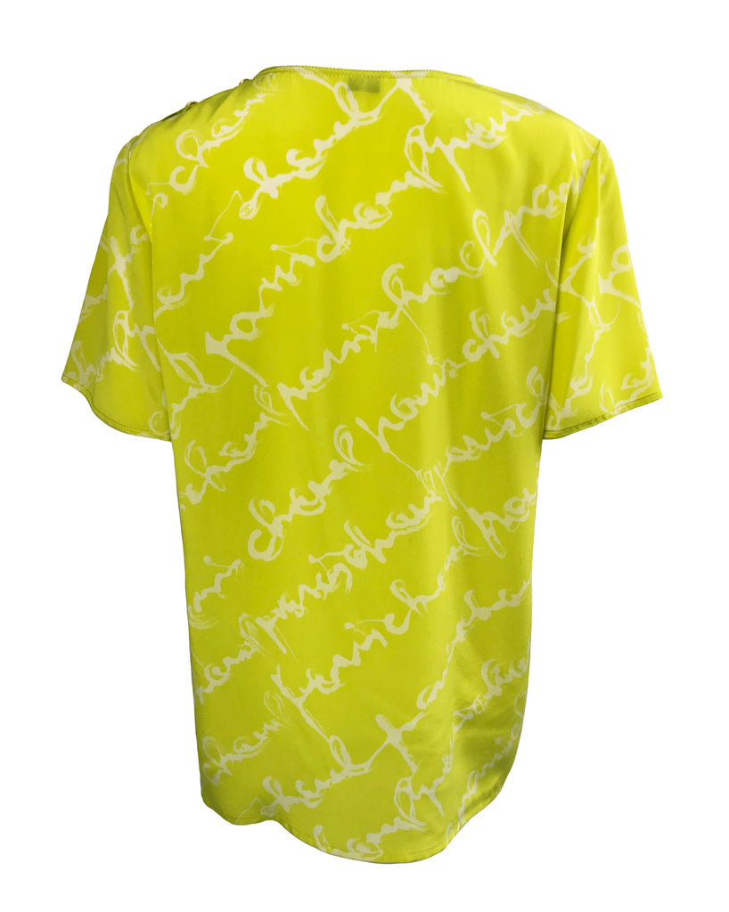 Chanel 1980s Logo Print Chartreuse Silk Blouse