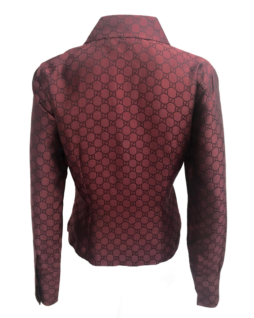 FRUIT vintage Gucci silk shirt designed by Tom Ford dating to the late 1990s. It features a classic Gucci monogram logo print all over in red/black contrast print and a tailored fitted shape.