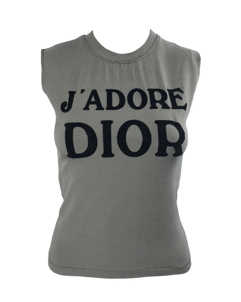 176f743dd6486 Fruit Vintage Christian Dior Black Houndstooth J adore Dior Logo Tank Top  by John Galliano