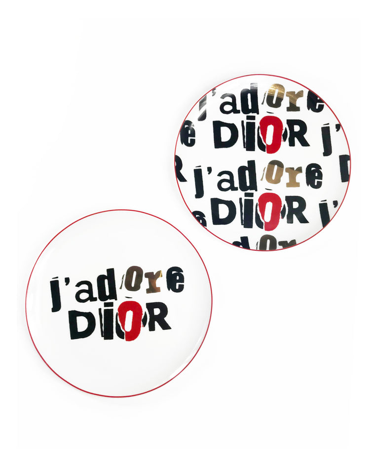 FRUIT Vintage Christian Dior J'adore Dior porcelain plate set. They feature an iconic newspaper cut-out version of the Jadore Dior logo monogram print in black, white and gold.