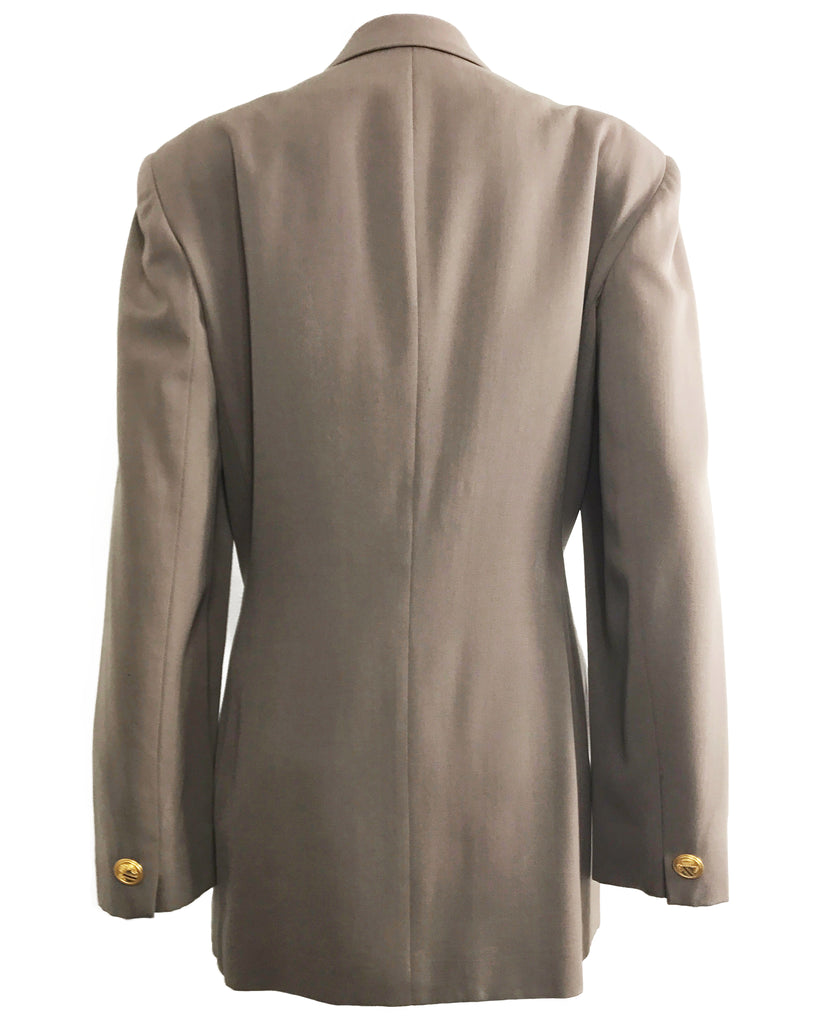 FRUIT Vintage Christian Dior 1980s Taupe Oversized Blazer gold buttons
