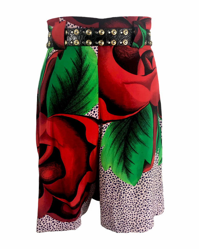 FRUIT Vintage Gianni Versace floral skorts feature a draped skirt front and classic short design at rear.