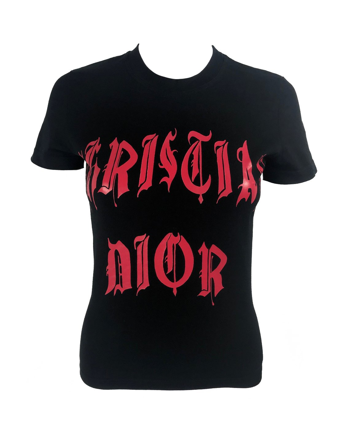 Fruit Vintage Christian Dior Gothic text Logo t-shirt. Features a classic t-shirt cut and graphic print with Christian Dior across the front and 1947 across the back.