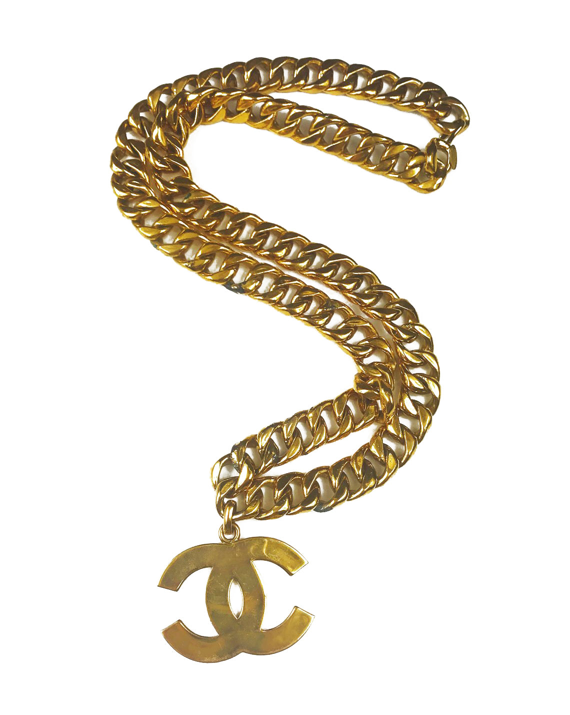 Fruit Vintage Chanel Logo Pendant, rare and important necklace. This style was famously worn by Linda Evangelista in the 1992 'Chanel Hip Hop' collection campaigns.