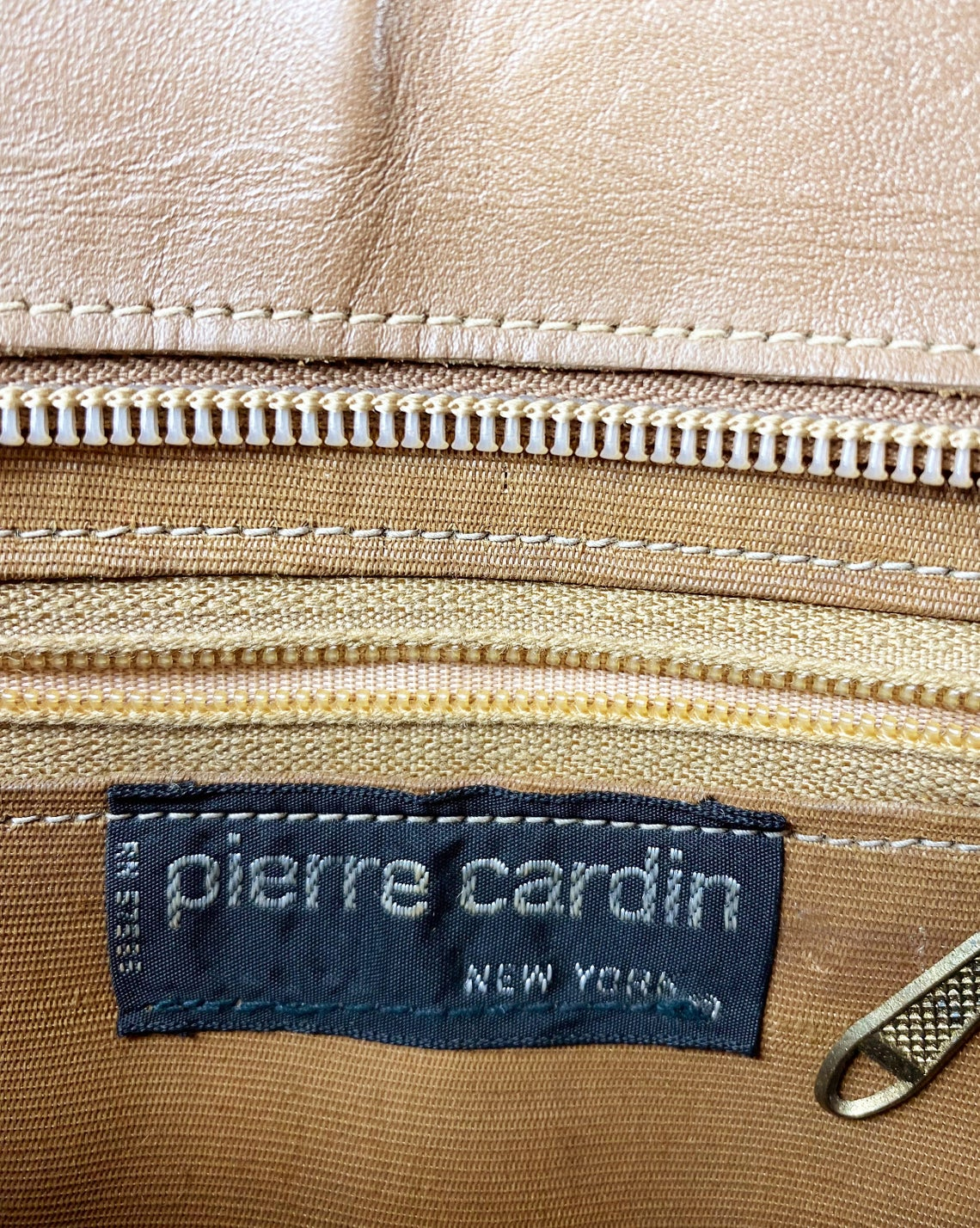 FRUIT Vintage original 1970s Pierre Cardin logo canvas handbag with tan leather trim.