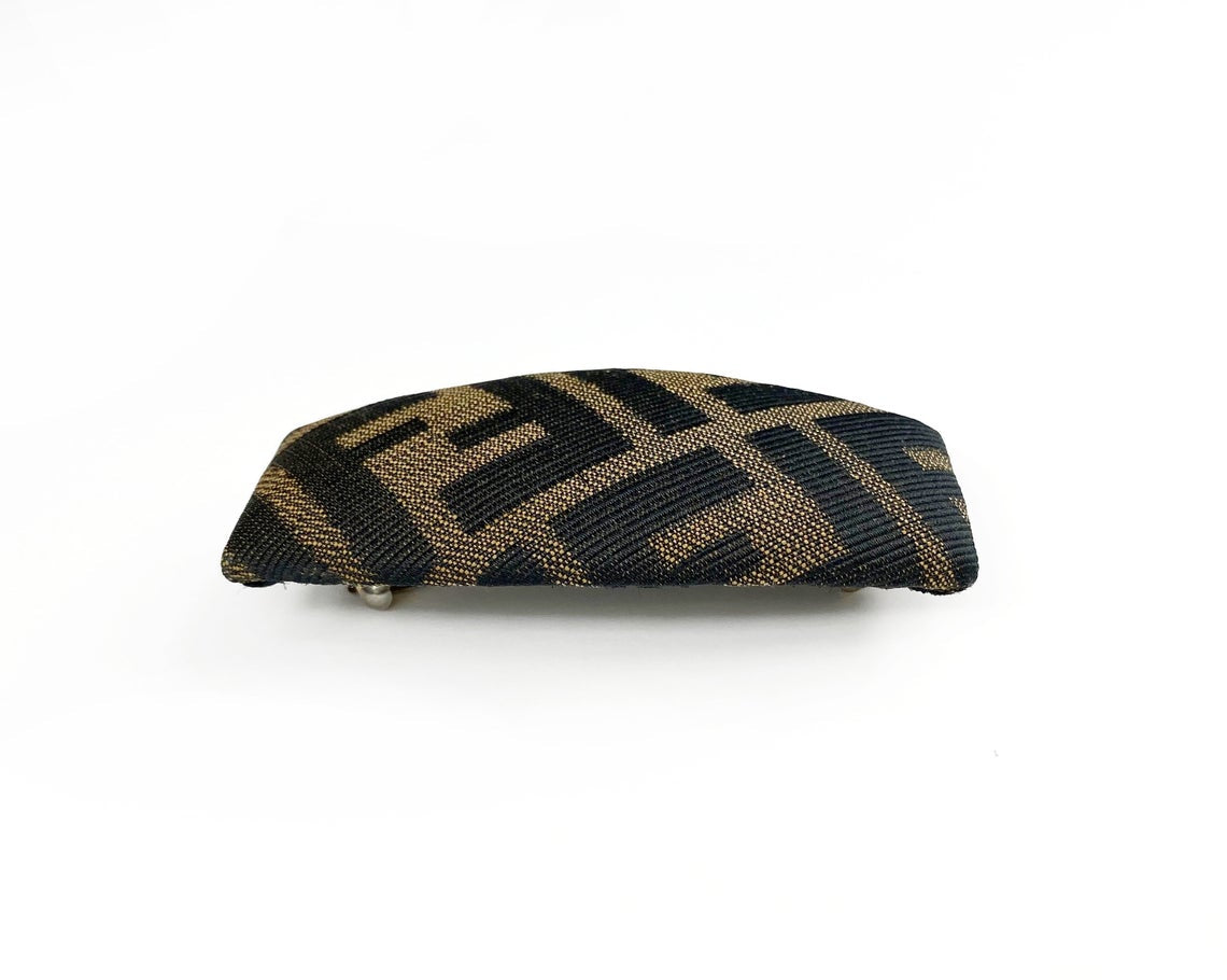 Fruit Vintage Fendi Zucca logo barrette hair clip in the classic Fendi Zucca canvas.