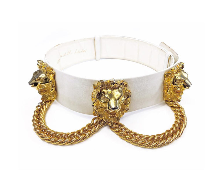 Judith Leiber Lions Head Chain Belt