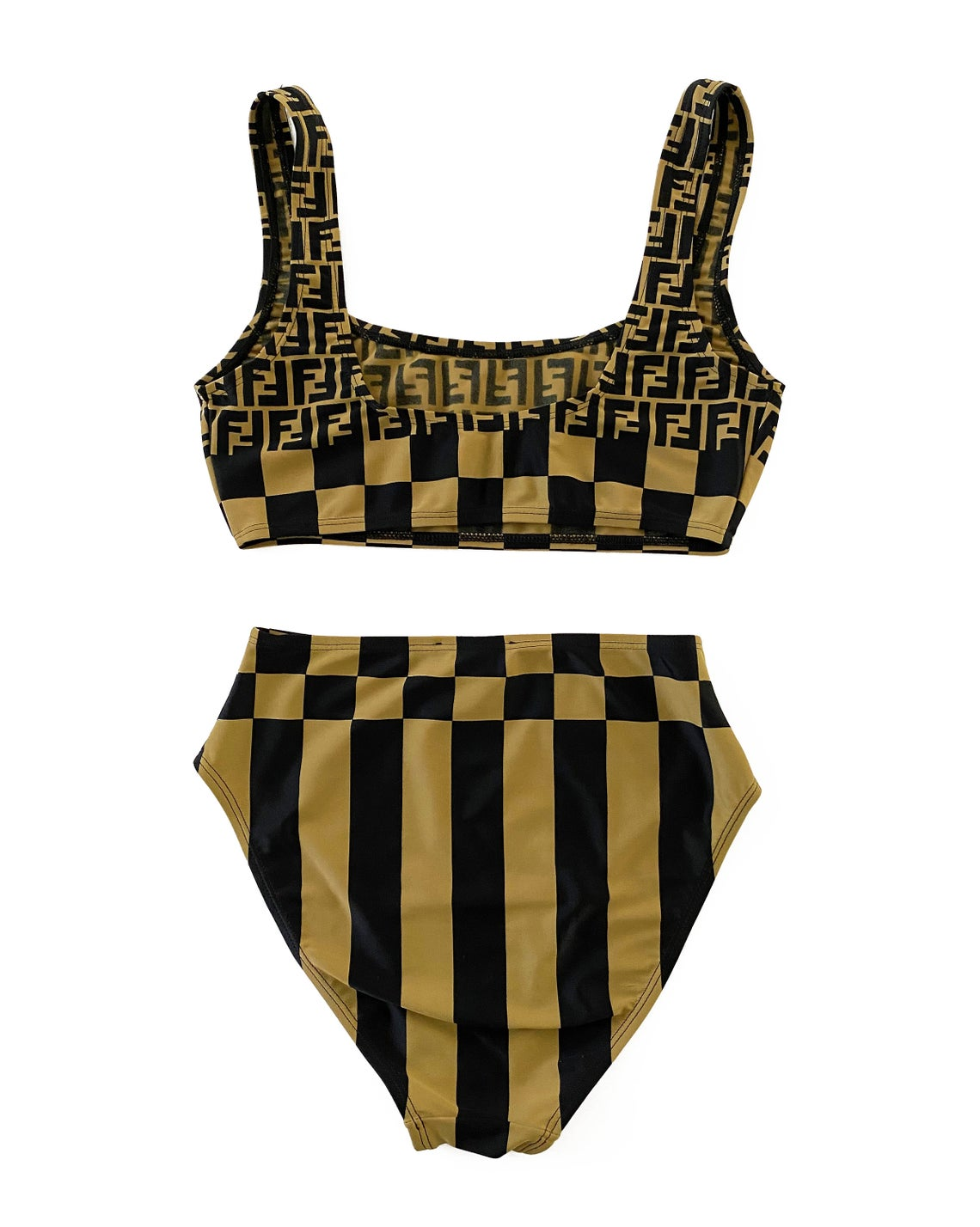 FRUIT Vintage original Fendi Zucca print bikini. This set is a collectors dream and featured in the 1990s Fendi Swimwear campaign. It has a sports style bra top/crop with the iconic Fendi logo monogram and Fendi checkerboard print design and checker board print high waist cut bottoms.