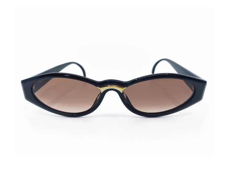 Christian Dior 1990s Black Oval Sunglasses