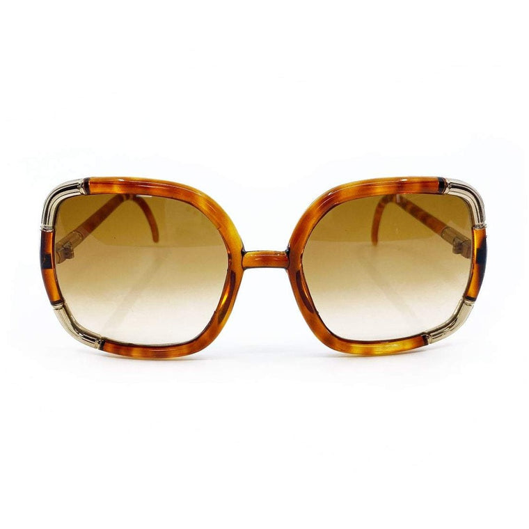 Ted Lapidus 1970s Brown Square Frame Sunglasses