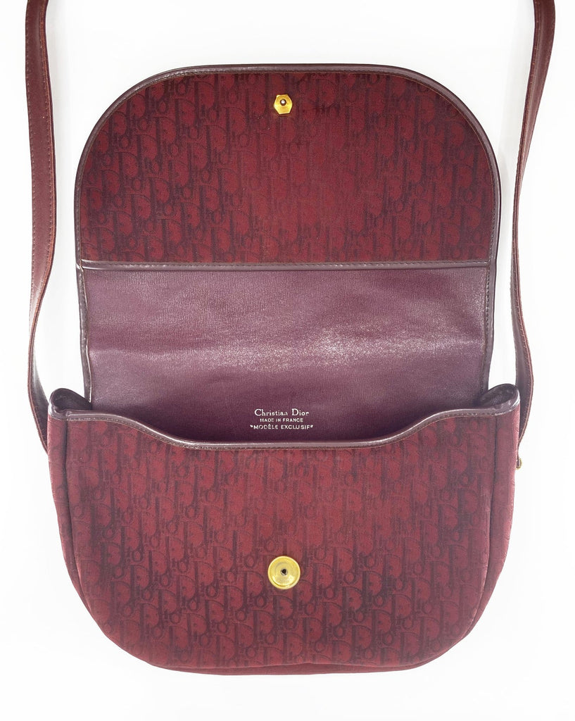 FRUIT Vintage Christian Dior 1980s maroon monogram logo shoulder bag handbag.