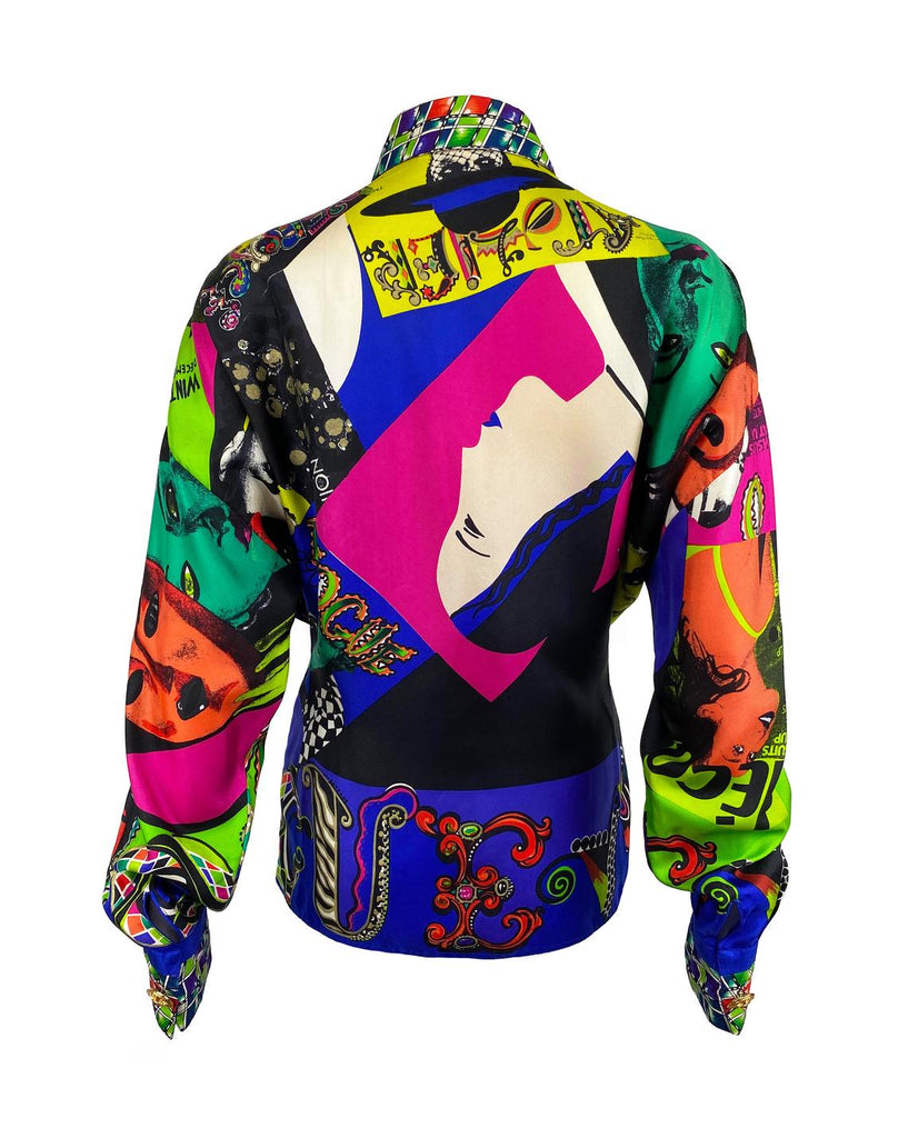 FRUIT Vintage Gianni Versace Vogue print silk shirt from the Spring 1991 collection. This is a very special, museum worthy piece! It features the iconic Vogue print in large scale all over and gold feature buttons on collar and cuff.