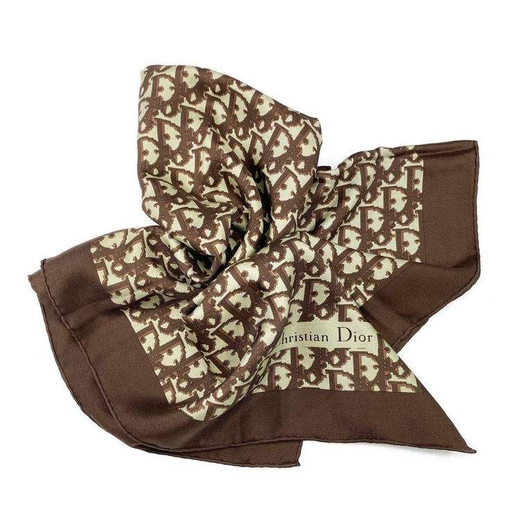 Christian Dior Silk Brown Trotter Logo Scarf