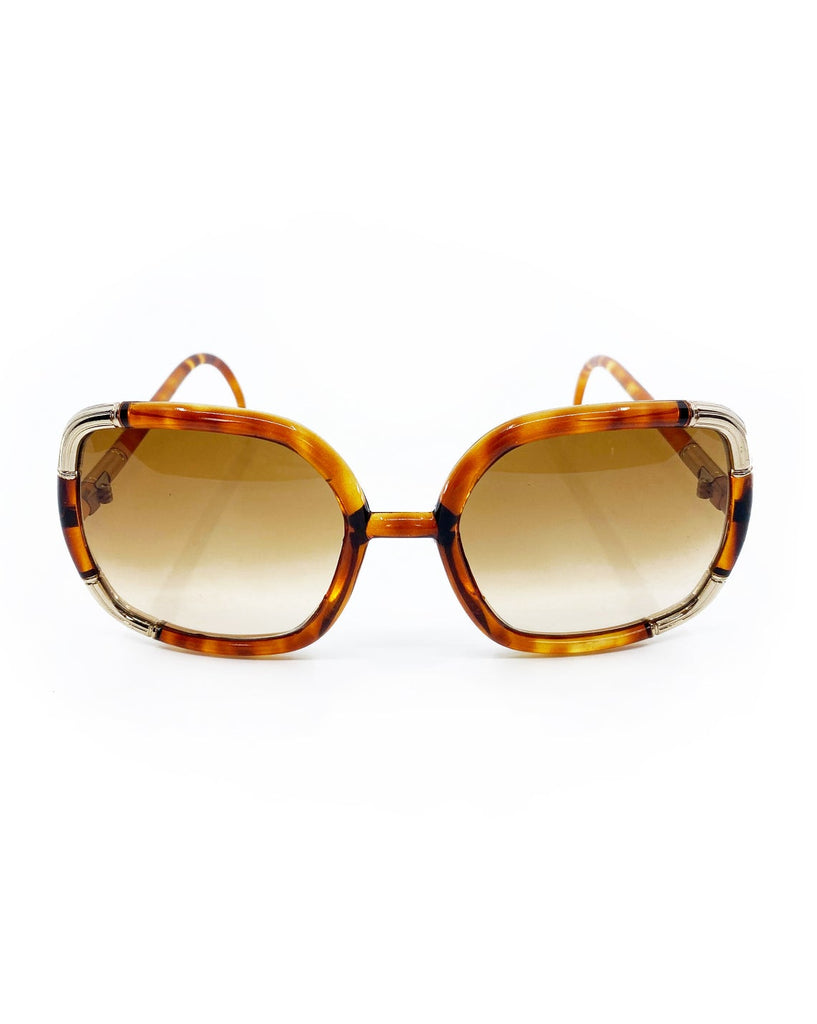 FRUIT Vintage Iconic 1970s Ted Lapidus square oversized sunglasses in a brown tortoise shell colour. Made in France, brown smokey lenses and gold trim