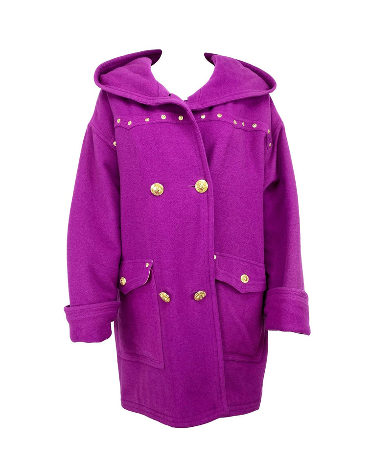 Versace Jeans Couture Purple Studded Coat