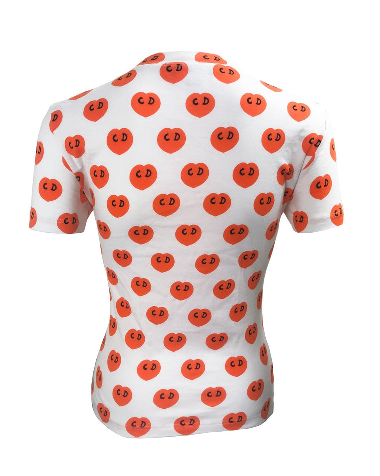 Fruit Vintage Christian Dior CD heart print Logo t-shirt by John Galliano. Features a classic t-shirt cut and graphic pattern logo monogram print.
