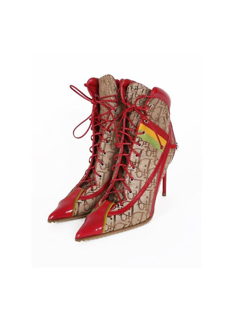 Fruit Vintage Christian Dior Rasta ankle boots, trotter monogram logo booties. Designed by John Galliano, they feature oblique logo print, lace up closure with leather laces, red leather trim and a large silver logo plate at rear.