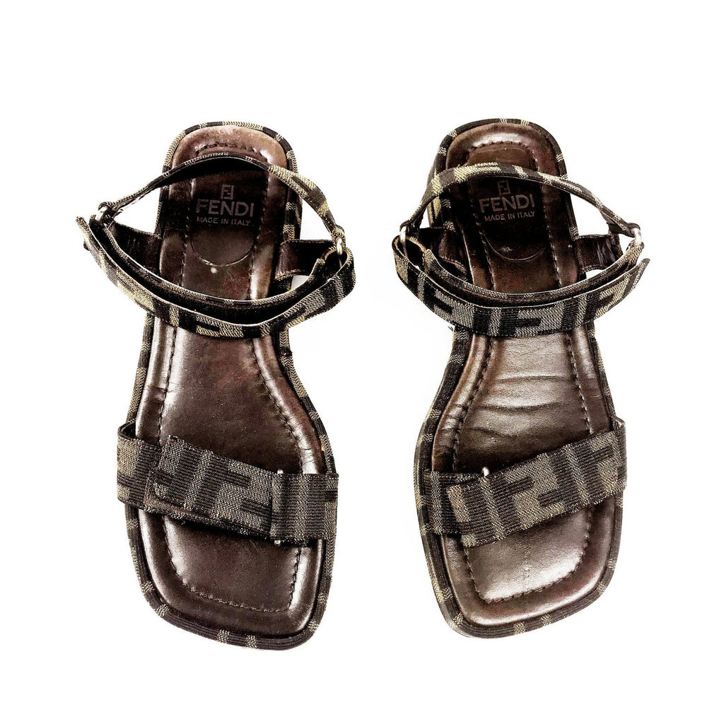 FRUIT Vintage Fendi Zucca monogram flat strap sandals dating to the 1990s, features velcro strap closure.