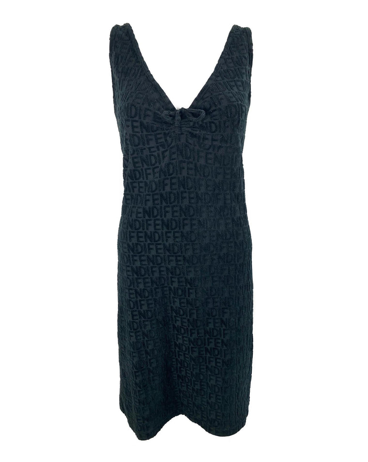 Fendi Flocked Logo Slip Dress