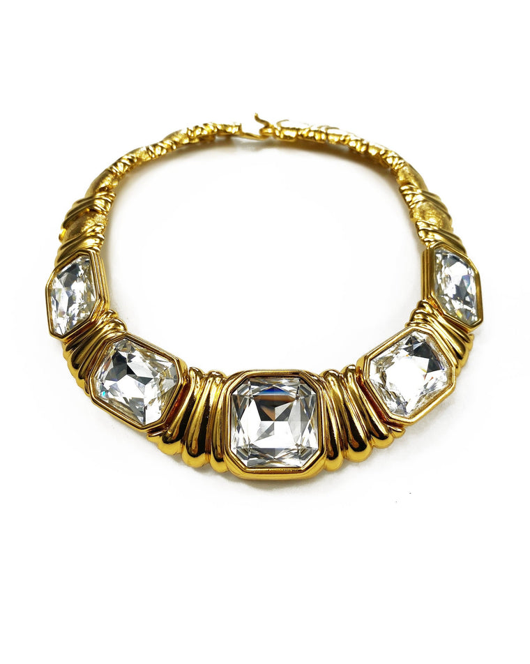 Yves Saint Laurent 1980s Gold Crystal Choker Necklace