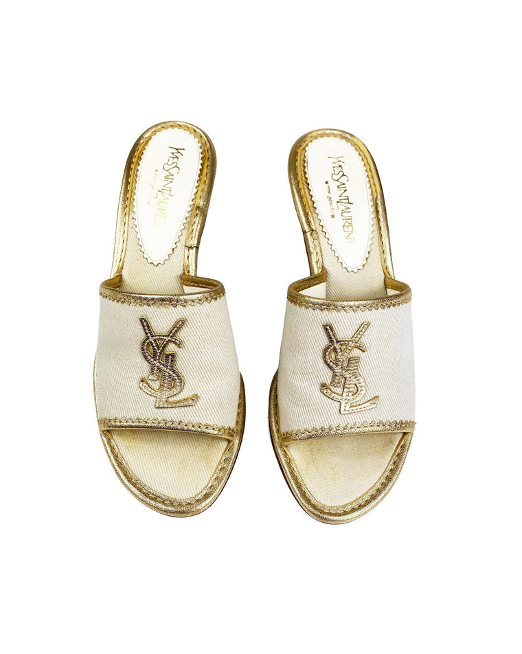 Yves Saint Laurent Gold Logo Mules