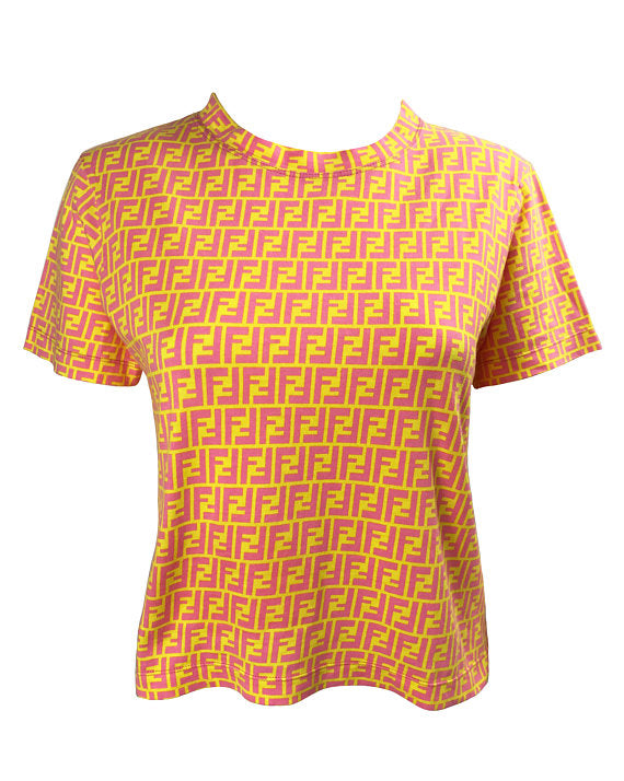 Fruit Vintage Fendi Yellow Pink Zucca Print T-shirt top tee