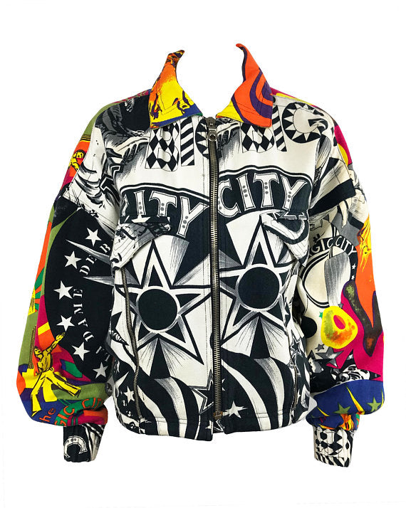 Versace Jeans Couture Rare Manhattan New York City Print Bomber Jacket