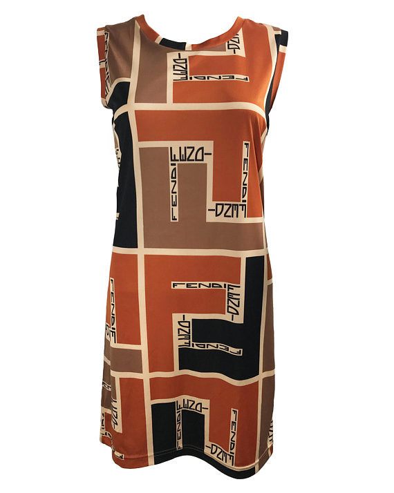 Fruit Vintage Fendi Retro Print Logo Dress